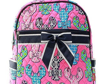 Lobster Nautical Print Quilted Monogrammed Backpack Navy Blue Trim