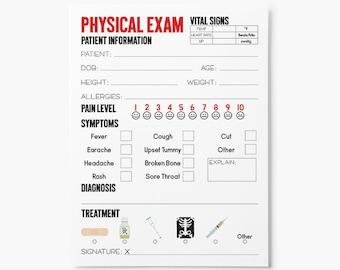 Kids Doctor Exam Form Printable - Dramatic Play - Doctor Party Printables - Party Favors Kids - Teacher Classroom Printables - Kids Activity