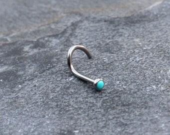 Turquoise Stone Nose Ring, 18G Titanium (6AL-4V-ELI) Turquoise Stone Nose screw Stud, Nose Piercing