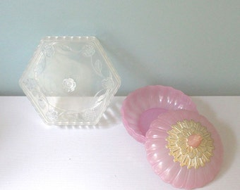 Vintage Avon, Vanity Box, Lucite Box, Powder Box, Trinket Box, Containers, Decorative Box, Home Decor, Gift For Her, Pink, Jewelry Box