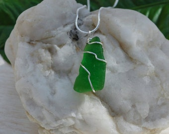 Sterling Silver Wire Wrapped Sea Glass Necklace