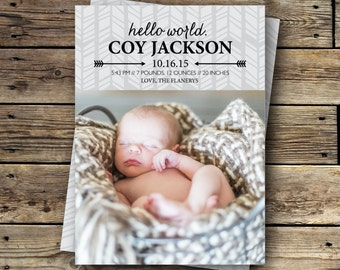 Printable Birth Announcement - Hello World - Arrows