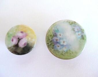 Antique Hand Painted Porcelain Shirt / Collar Buttons