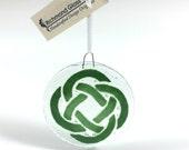 Celtic Knot Ornament, Fused Glass, Irish, Celtic design, Irish Decor, Green, Sun Catcher