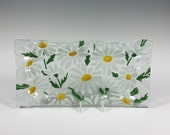 Daisy Serving Tray, Daisies, Fused Glass, Flowers, White Flowers, Daisy Decor, Bread Tray, Glass Plate
