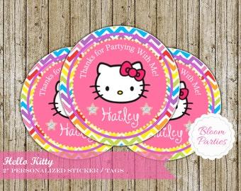 Hello Kitty Birthday Party Favor Tags Stickers DIY Personalized Digital Printable Chevron