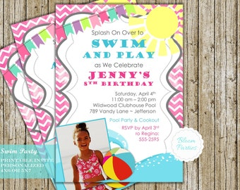 Pool Party Invitation Girl Birthday Party Invite Summer Swim Party Beach Party DIY Digital Printable - 4x6 or 5x7