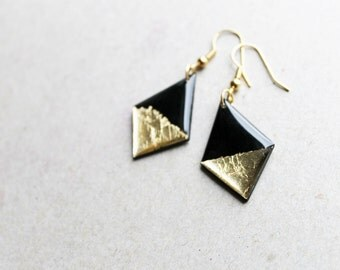statement dangle earrings geometric earrings sustainable jewelry black and gold earrings contemporary jewelry eco-friendly gift idea for her