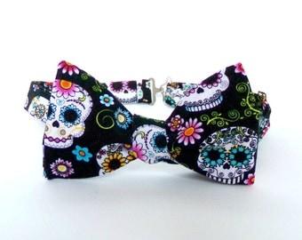 Sugar Skull Bow Tie Self Tie Dia De Los Muertos Colorful Day of the Dead Floral Folk Art Halloween Unisex Bowtie Black Cotton Necktie Skulls