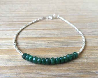 Emerald and Fine Silver bead Bracelet, Beaded bracelet, Gemstone bracelet, May Birthstone bracelet