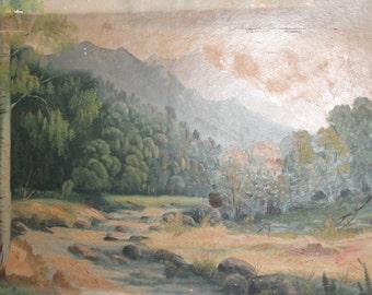 Antique large impressionist oil painting mountain river forest landscape
