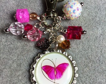 Breast Cancer Beaded Bottle Cap Keychain|Breast Cancer Awareness|Save the Tatas|Pink Ribbon|Butterfly