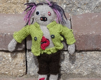 Zombie, Handmade Walkers, Zombie Doll, Gift for Him, Plush Zombie, Z Nation, Knitted Zombie, The Walking Dead, Ready to Ship