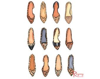 Fashion Art,Leopard Shoes Poster,Fashion Illustration,Fashion Print,Fashion Sketch,Leopard Shoe Art,Fashion Wall Art,Shoe Sketches