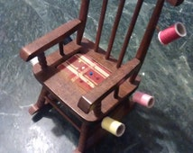 VINTAGE ROCKING CHAIR pin cushion, sewing, seamstress, vintage, accessories, craft, pin cushion, thread holder, notions, rustic, cute