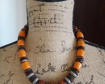 Orange and Brown Necklace, Vintage Wood Necklace, Boho Necklace, Boho Jewelry, Choker