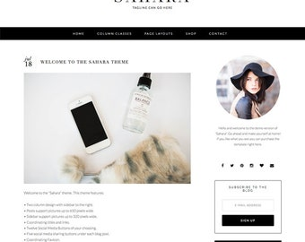 "Responsive Wordpress Blog Theme ""Sahara"" - Feminine Self-Hosted Wordpress Blog Theme"