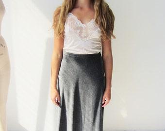 90s Grey/Silver Velvet Maxi Skirt