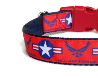Air Force Dog Collar - Red, White, & Navy Blue (Buckle or Chain Martingale)