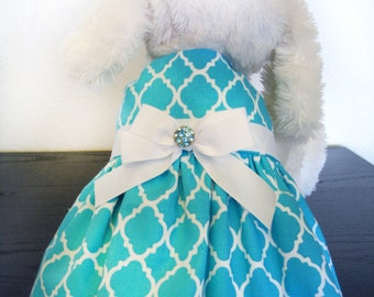 Turquoise Blue Dog Dress with Vintage Rhinestone Button and Ribbon Bow - Designer Dog Dress