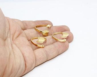24k Gold Plated Arrow Rings, 17-18mm Adjustable Ring, Brass Adjustable Ring , LA , BRT286