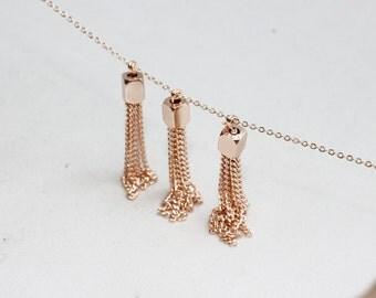 50mm Rose Gold Chain Tassels , Rose Gold Tassel Pendant, Tassel Pendant, TSL74