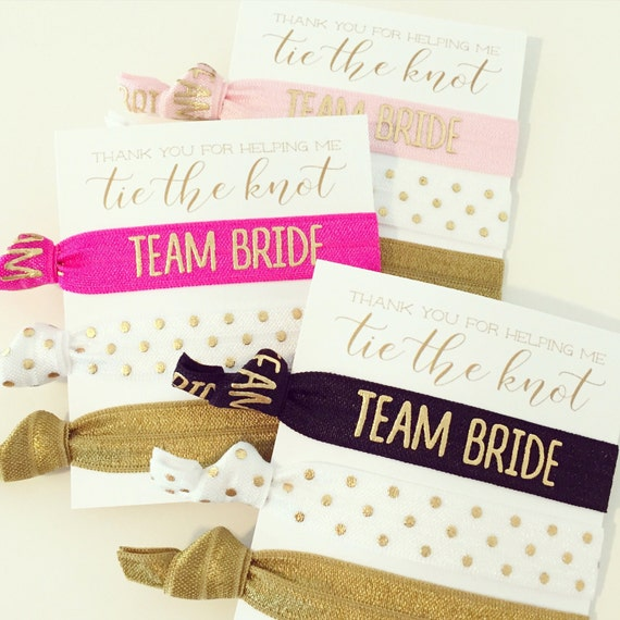 YOU DESIGN Hair Tie Bridesmaid Gifts | Bridesmaid Proposal Gift, Maid of Honor + Wedding Party Proposal Card, Gold Team Bride Hair Tie Sets