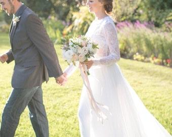 Tulle skirt wedding long for beach weddings, garden weddings, alternative weddings, and engagement shoots - IVORY
