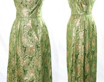 Vintage Green Gold Cotillion Formals 60s Full Length Dress