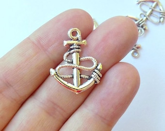 8 Anchor Charms -  Silver Tone - #S0128