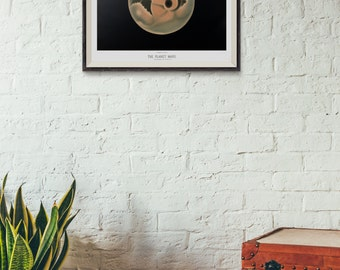 The Planet Mars by Étienne Léopold Trouvelot - 1882 - Space Art Print- Astronomy print - Vintage Science art - Student Gift - Mars Poster