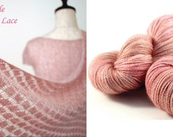DYED TO ORDER Posh Lace with Free Sakura Stole Pattern: hand-dyed 70/20/10 Baby Alpaca Silk Cashmere Yarn