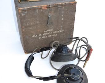 YA6401 Tele Attchment Headgear Double No1 MKV World War II Vintage Military Headphones Communications World War II Kit