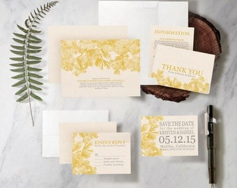 Yellow Floral Wedding Invitation Set/Suite, Printed/Printable Wedding Invitations/Invites, Save the date, RSVP, Thank You Cards,Digital/PDF