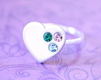 Sterling and Pewter Swarovski Mother's Ring - Mother's Day - Kid's Birthstones - Birthstone Ring - Heart Ring - Grandma Ring - Nana