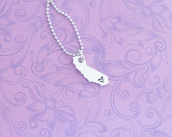 Hand Stamped California Pendant - California - Your State - Hand Stamped Jewelry