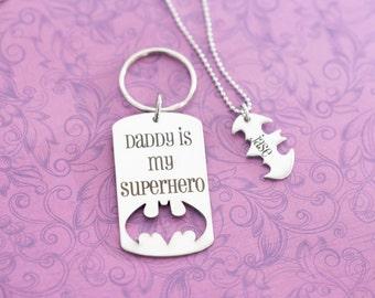 Engraved Dad, Grandpa, Papa Superhero and Sidekick Necklace Keychain Set - Batdad - Established - Super Dad