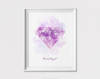 Wall Art Print, Watercolor Amethyst Print, February Birthstone poster, gemstone, Home Decor, Wall Decor, ArtFilesVicky