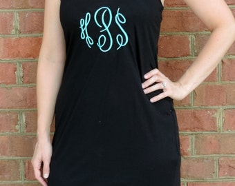 Ladies' Monogrammed Racerback Tank Dress (Women's Racer Back Swim Cover Embroidered / Personalized w. Monogram) DM423