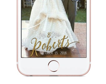 Custom Snapchat Geofilter, Wedding Snapchat Filter, White and Gold Geo Filter