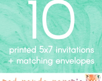 10 Printed 5x7 Invitations on Cardstock with Matching Envelopes