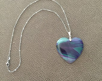 Quartz Necklace, Heart Necklace, Banded Agate, Purple Necklace, Teal Necklace, Anniversary Gift, Birthday Gift, Gemstone Gift, Rock Hound