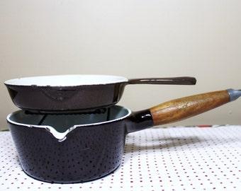 Pair of Brown Enameled Cast Iron Pans, Copco, Cousances, Le Creuset