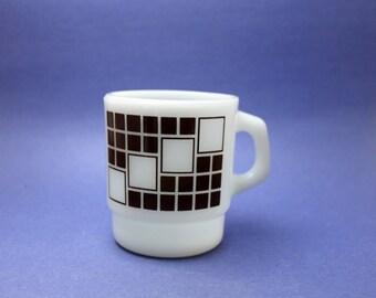 RARE Anchor Hocking Mug, Geometric Brown Squares Pattern, Fire King Mug