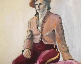 Vintage Gouache Painting Portrait Signed