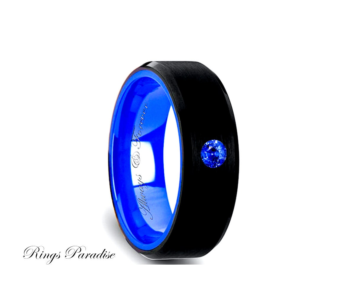 Blue Tungsten Wedding Bands Engagement Ring Black and Blue