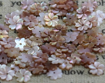 6pcs 8mm Natural mother of pearl Flower shell beads, Flower shaped shell beads, MOP charm, Natural shell charm, central hole