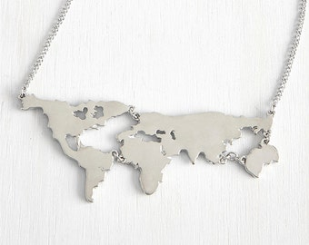 World Map Necklace,World Necklace,Country Necklace,State Necklace,Travel Necklace,Personalized Jewelry,Memorial Necklace,Bridesmaid Gift