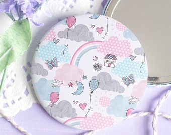 Cute Pastel Pocket Mirror - Enjoy The Little Things Collection - Dream Cloud Pattern