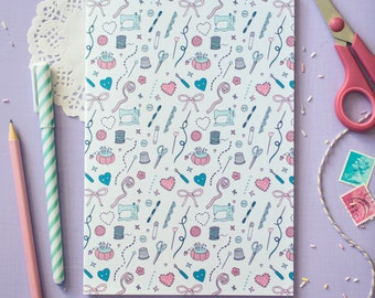 Sewing Patterned Notebook - Those Who Sew Collection - Blank A5 - Sewing Gift